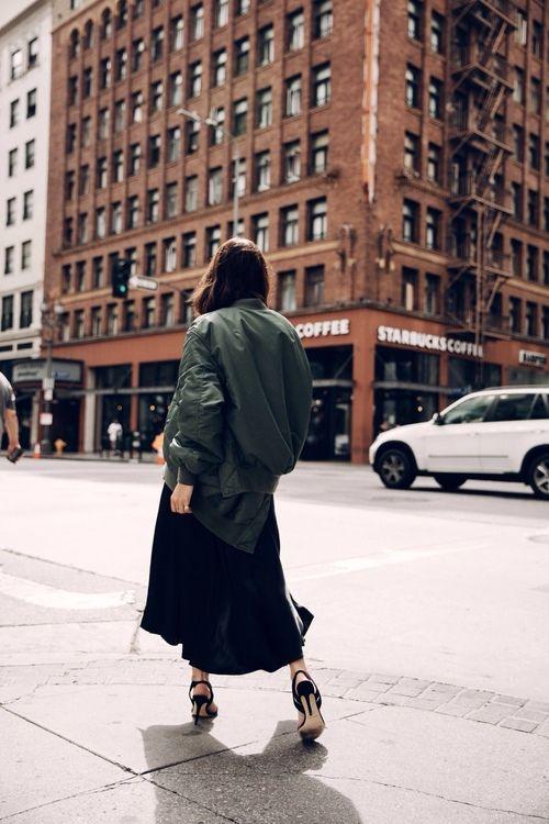 khaki jacket black dress