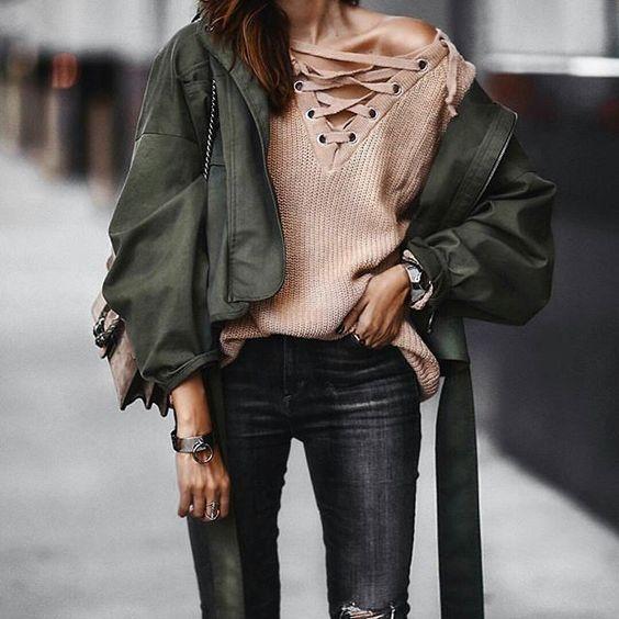 khaki jacket blush pink sweater