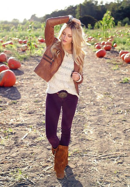knee high fringe boots brown leather jacket