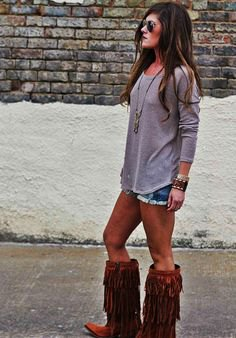 knee high fringe boots denim shorts outfit