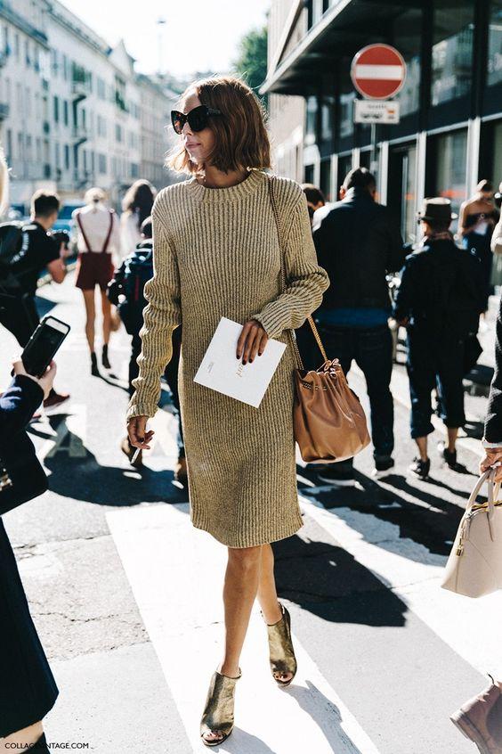 knit sweater dress camel