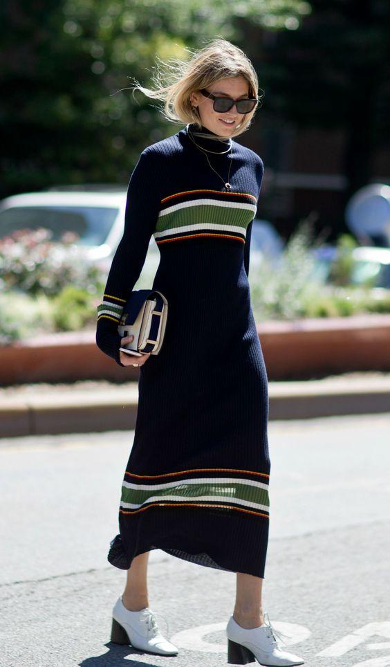 knit sweater dress long stripes