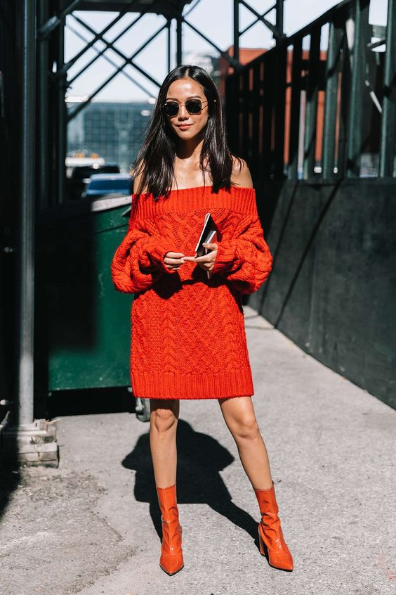 knit sweater dress red cable knit
