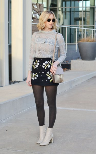 knit sweater high waisted embroidered skirt