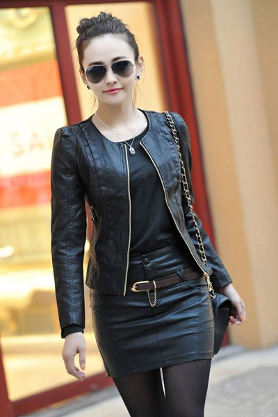 leather bomber jacket mini skirt