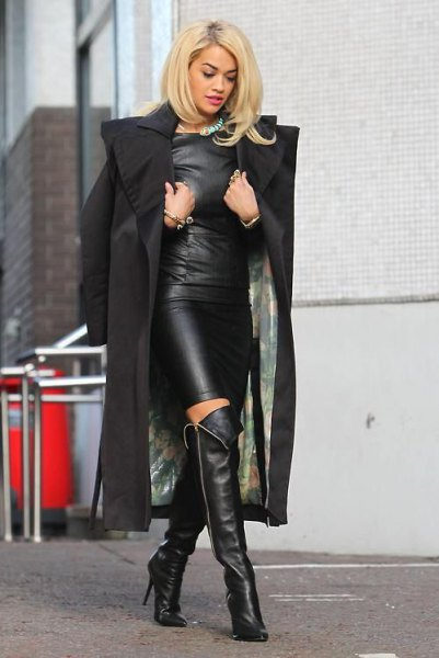 leather dress over the knees boots