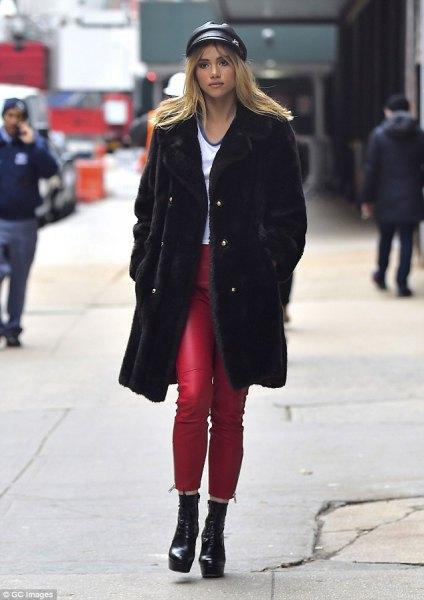 leather flat cap black faux fur coat
