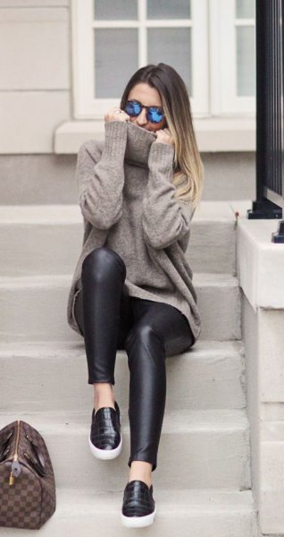 leather sneakers leggings with grey knit sweater