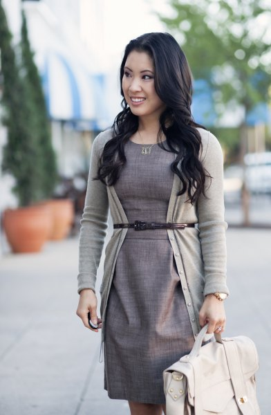 light grey belted cardigan sheath dress