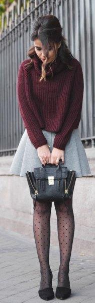 light grey wool pleaded mini skirt green knit sweater