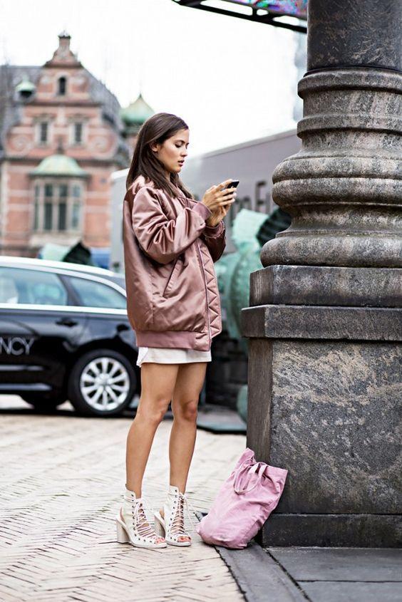 long bomber jacket soft pink