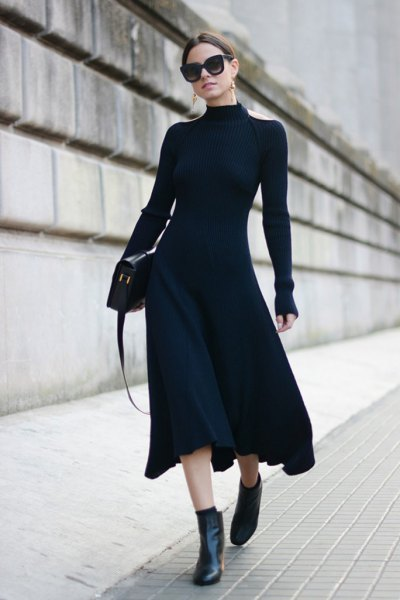 long sleeve high neck dress ankle boots