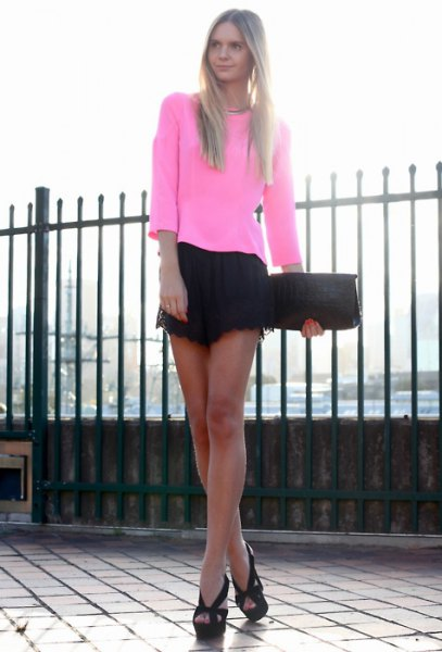 long sleeve white top black lace shorts
