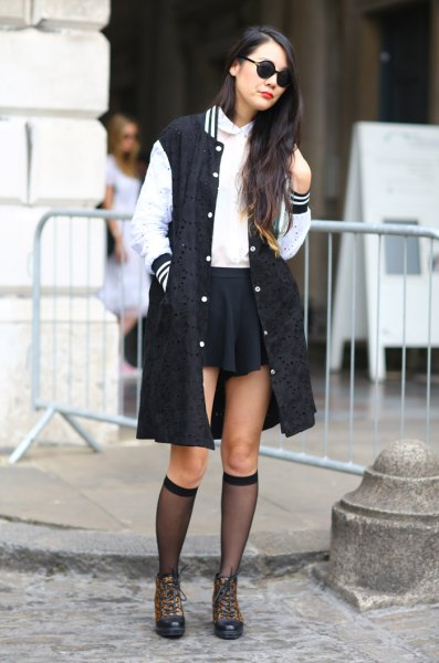 longline baseball jacket black skater skirt