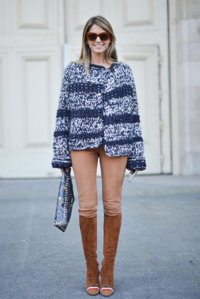 marled knit sweater riding pants