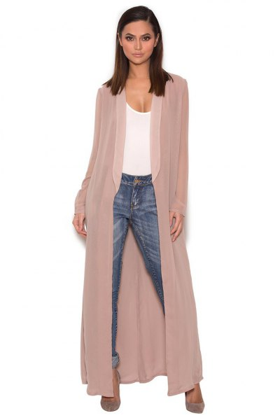 maxi chiffon blazer white vest top jeans