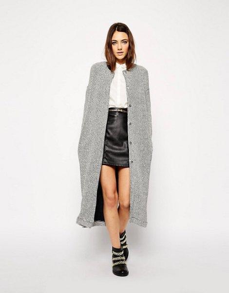 maxi tweed jacket black leather mini skirt