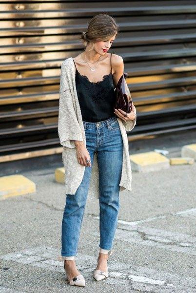 mom jeans black vest top grey longline cardigan