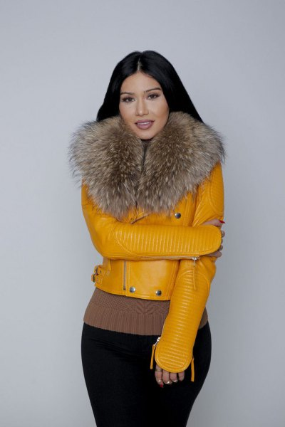 mustard yellow fur collar leather jacket
