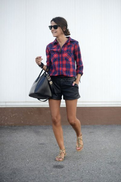 navy and red plaid shirt leather shorts