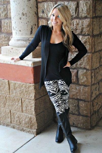 navy cardigan printed leggings outfit