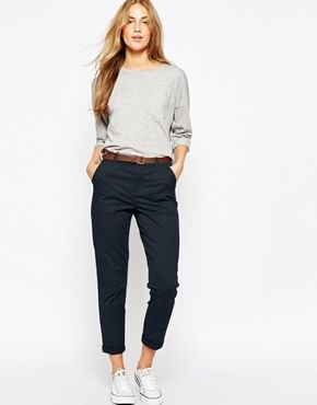 navy chinos grey long sleeve t shirt outfit