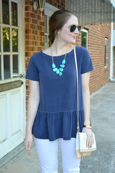navy peplum top white skinny jeans