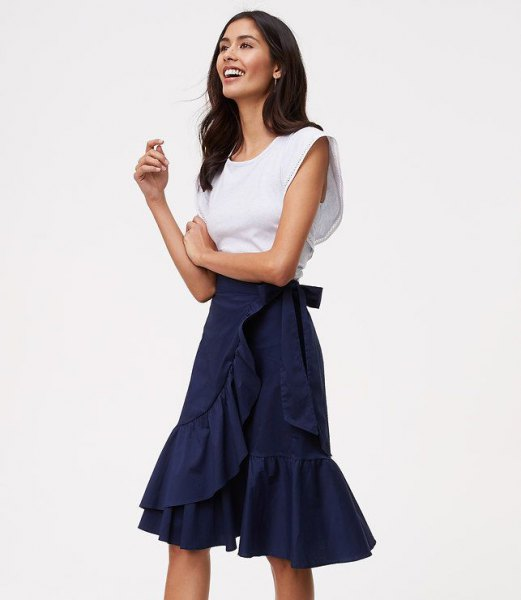 navy ruffle knee length skirt