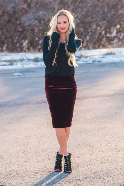 14 Amazing Outfit Ideas On How To Wear Velvet Skirts