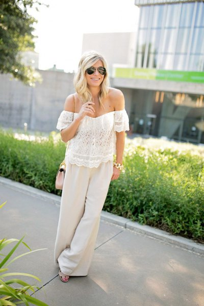 off shoulder boho top linen pants