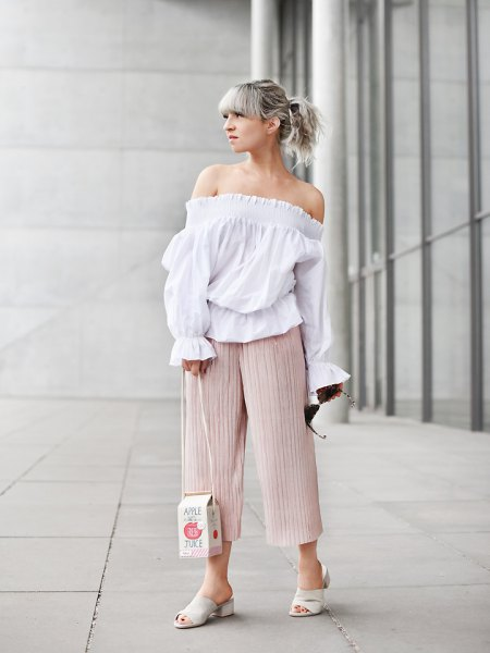 off shoulder white blouse pale pink culottes