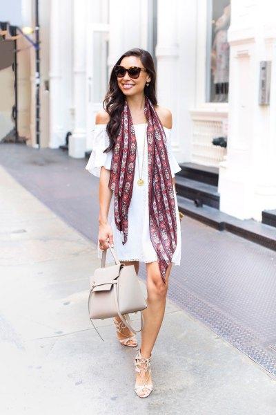off shoulder white dress silk scarf