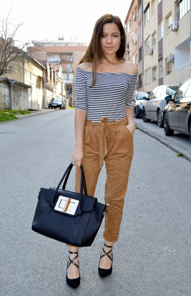 off the shoulder striped tee suede pants