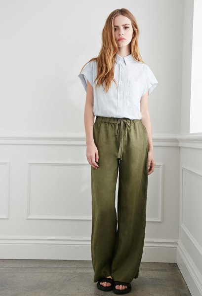 olive green linen pants white blouse outfit