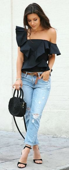 one shoulder black ruffle top boyfriend jeans