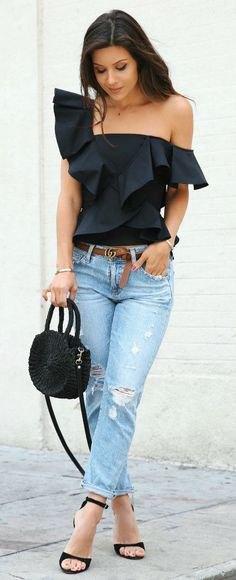 one shoulder black ruffle top boyfriend jeans