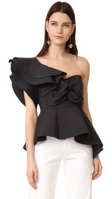 one shoulder black ruffle top white pants