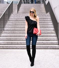 one shoulder black top thigh high boots