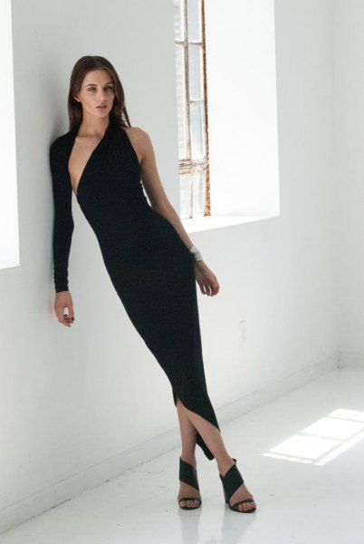 one shoulder single sleeve asymmetric black midi dress