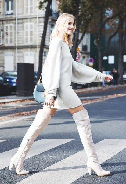 over the knee white leather boots sweater dress
