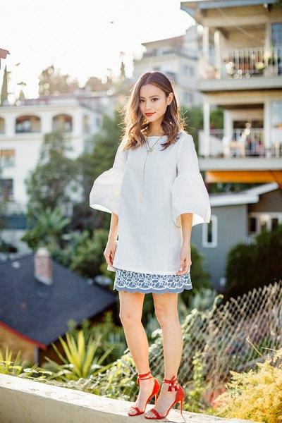 oversized bell sleeve top scalloped hem skirt