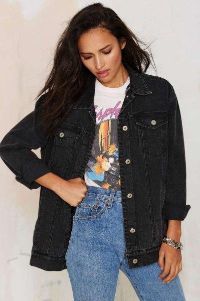 oversized black jacket mom jeans