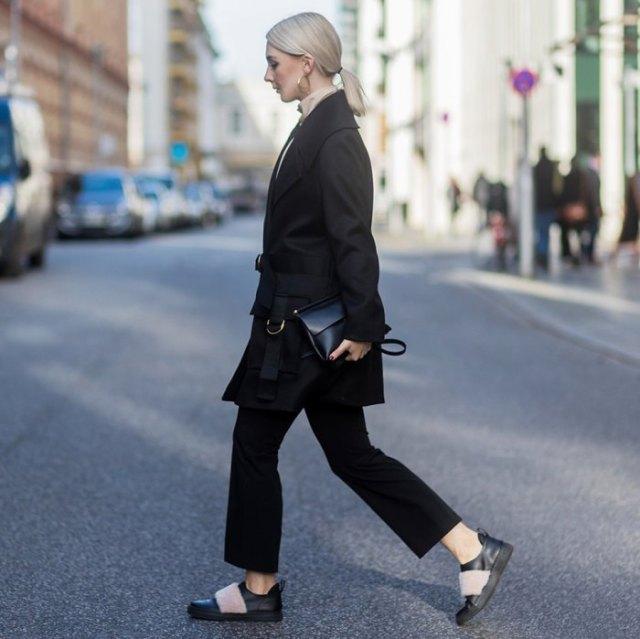oversized black wool coat leather sneakers