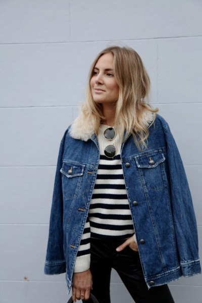 oversized denim jacket black and white knit sweater