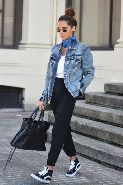 oversized denim jacket joggers high top vans