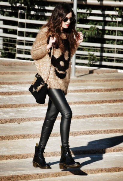 oversized fluffy knit sweater leather leggings