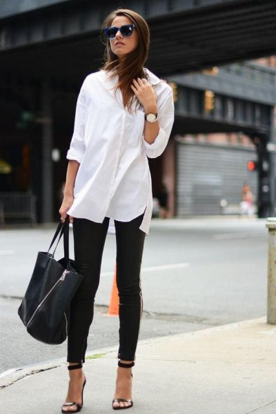 oversized white button up shirt black skinny jeans