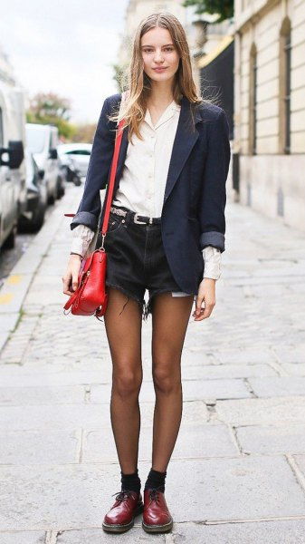 oxford shoes black denim shorts white shirt