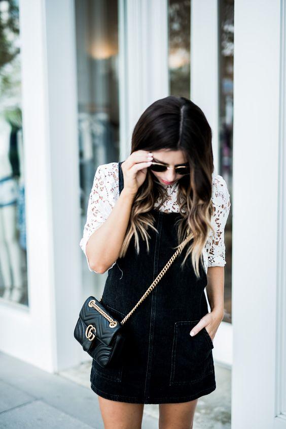 pinafore dress black white