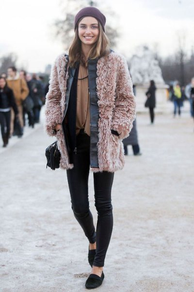 pink teddy coat black skinny pants
